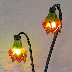 glass and iron flower lamps